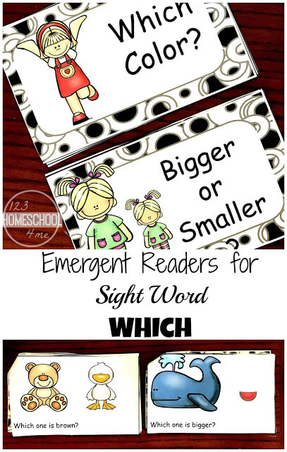 FREE Kindergarten Sight Words Emergent Reader to help kids work on a variety of dolch sight words including which (printable, homeschool, prek)