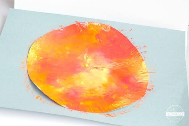 Squish Painted Sun Craft