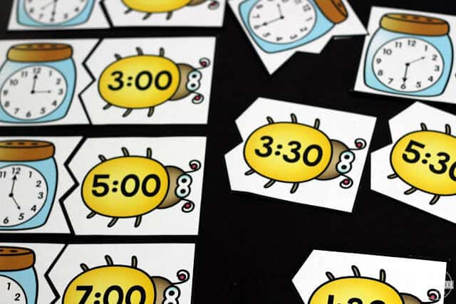 practice telling time to the hour and half hour with this fun, engaging grade 1 math -bug math game