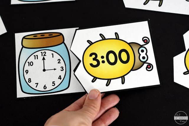 this fun kindergarten math activity helps children practice telling time to the hour with a cute bug theme