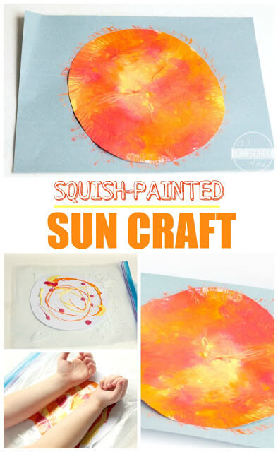 Looking for a fun-to-make sun craftfor kids? You are going to love this mess free squish painted sun craft perfect for celebrating the summer solstice,solar system craft, or summertime. This sun painting craft is perfect for toddler, preschool, pre-k, kindergarten, first grade, and 2nd graders. The coolsquish painting technique is especially fun for kids of all ages. Thissummer craft for preschoolersis a must.