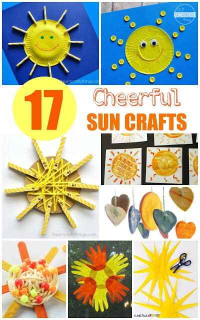 17 Sun Crafts - so many super cute, creative, and unique sun crafts for kids (toddler, preschool, kindergarten, first grade, 2nd grade, summer solstice, summer crafts for kids) #craftsforkids #summercrafts #preschool