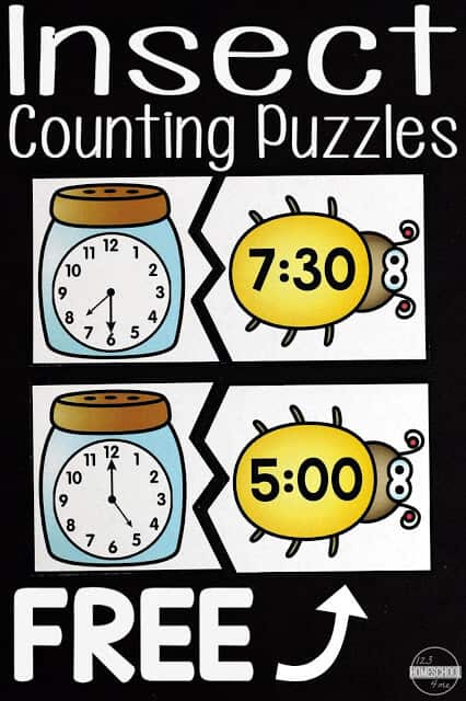 Telling the time games usingthese fun insect printables for kindergarten, first grade, and 2nd graders. This telling the time activity is a fun way to teach your students about learning to tell the time! Simply print pdf file with telling time puzzlesand you are ready to play and learn with thistime puzzle game.