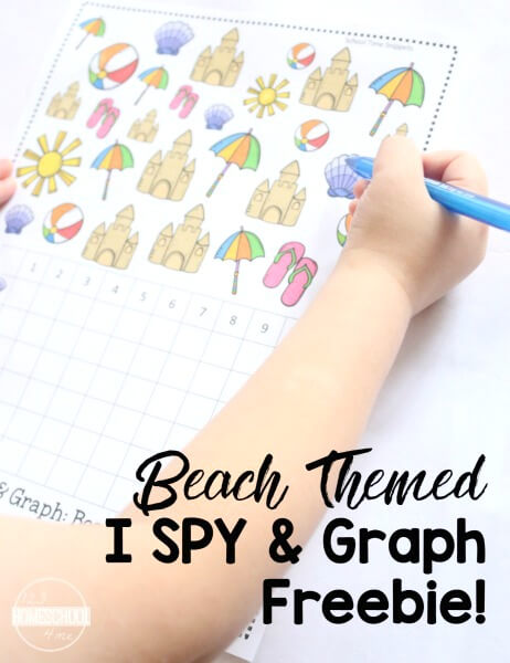 Introduce simple graphing skills with this fun Beach I SPY printable game. This i spy summer helps work on counting to 10 and will improve visual scanning abilities! Add a math twist to the classic printable I SPY games with this summer activity for preschoolers. Use this free summer worksheet with your preschool, pre-k, and Kindergarten aged child to work on math concepts in a fun way. Simply downloadbeach worksheet and you are ready to play and learn with abeach theme activity.