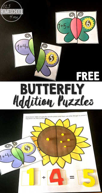 FREE Butterfly Addition Puzzles - these are such a fun way for preschool, prek, kindergarten, and first grade to practice adding with a fun spring activity/ summer activity for hands on math (math games, math puzzles)