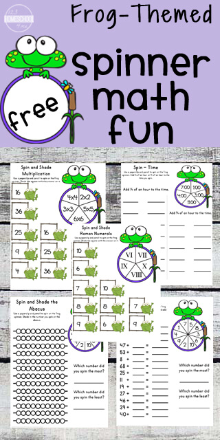 FREE Frog Spinner Math worksheets for 2nd grade, 3rd grade, and 4th grade students (homeschool, math games, grade 2, grade 3, grade 4)