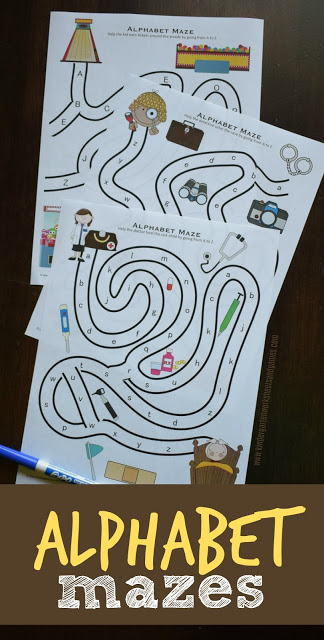 More Free Alphabet Mazes for preschool and kindergarten to practice letters