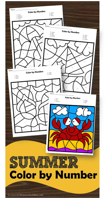 FREE Summer Color by Number - free printable worksheets to help preschool, prek, kindergarten age kids to identify numbers 1-10 and 10-20 while improving fine motor skills in these summer worksheets