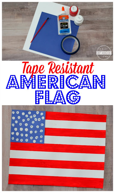 American Flag Craft perfect for toddler, preschool, prek, kindergarten, first grade and 2nd grade perfect 4th of July craft