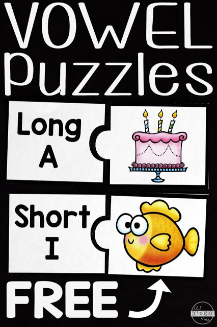 Looking for a fun activity to help kids practice vowels? These free Vowel Printables help kindergarten, first grade, and 2nd graders work on short vowel and long vowels while having fun putting together vowel puzzles. This vowel activities will have your children having fun sorting pictures by their long and short vowel sounds.