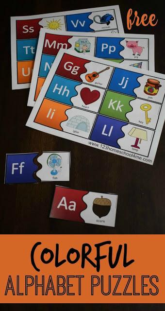 FREE Colorful Alphabet Puzzles make practicing ABC fun for preschool, prek, kindergarten age kids. (summer learning, back to school,homeschool)