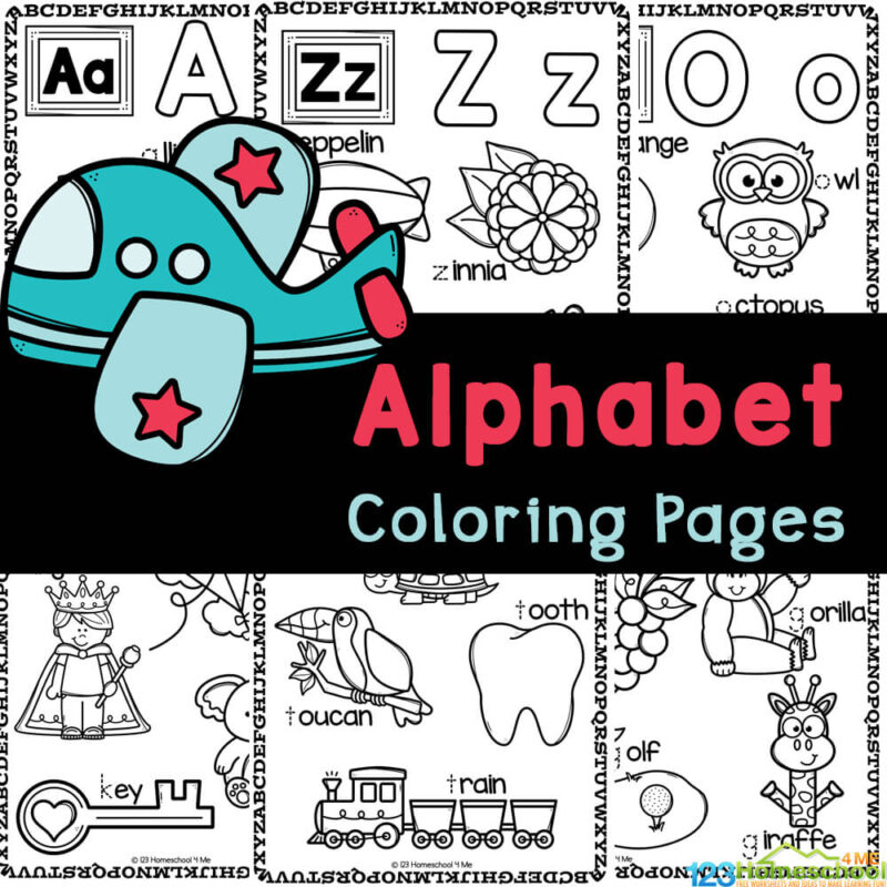 Cute Alphabet Coloring Pages help teach letters, tracing letters, and letter sounds with ABC coloring sheets with free printables for kids!