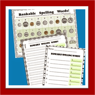 Bankable Spelling Words (counting money activity)
