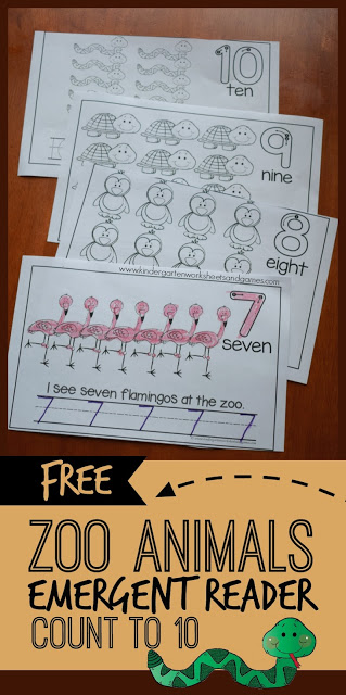 FREE Zoo Animals Counting Book is a fun way for toddler, preschool, prek, and kindergarten age kids to leran to count to 10 while refining fine motor skills, practice tracing numbers 1-10, and beginning to read simple text.