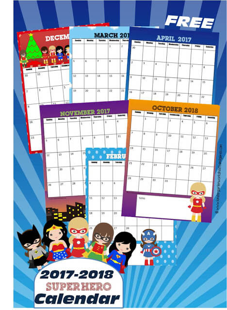 FREE Girl Superheroes Printable Calendar is such a fun way for kids to keep track of upcoming events, school assignments, homeschool, and to learn months, learn days of the week, and see how the calendar works.