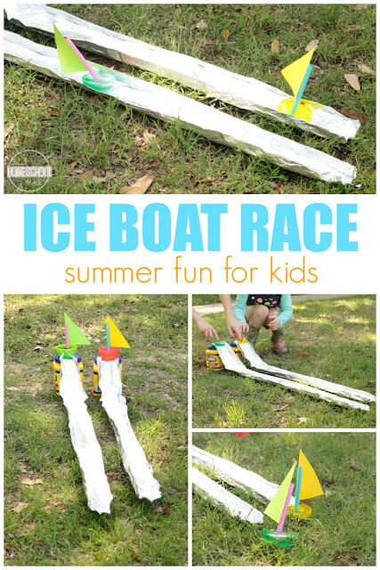 Looking for fun water activities for kids? This ice boat race projects is not only a fun summer stem idea, but a great way to cool off and play on a warm summer day. This water games that will keep them outdoors for an hour or more. Make dozens of boats for all-day Ice Boat Races outdoor fun and games with ice! Theseie activities for preschoolers, kindergartners, grade 1 grade 2, grade 3, and toddler are an EPICsummer activity for kids!