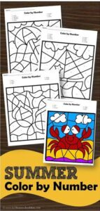 Help kids practice identifying numbers 1-20 while refining their fine motor skills with these super cute summer color by number worksheets.