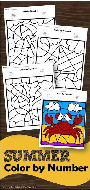 Download this free printable summer color by number to sneak in some FUN summer learning with preschool, pre k, kindergarten, and first grade students. Not only will children practice identifying numbers 1-20, but they will strengthen  their fine motor skills with these free summer worksheets that make summer learning FUN!