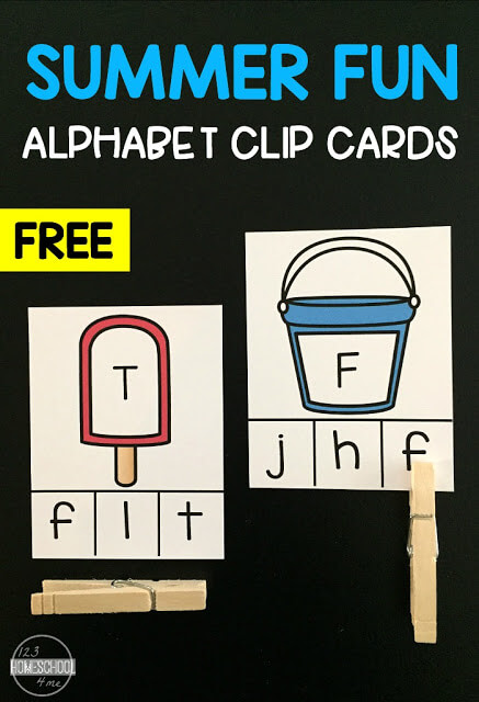 FREE Summer Fun Alphabet Clip Cards - super cute hands on learning game to help preschool, prek, kindergarten age kids practice matching uppercase letters and lowercase letters. Perfect for summer learning! #alphabet #summer #kindergarten
