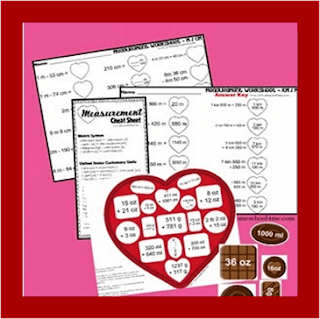 valentines day measurement worksheets