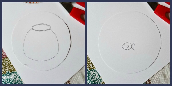 on one side draw a fish bowl and on the other side draw a fish