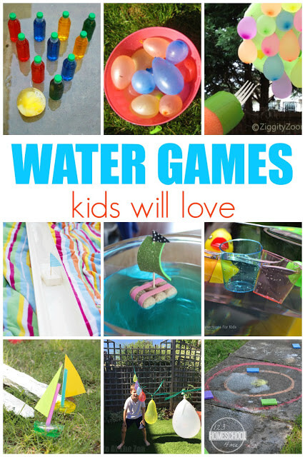 Water Games - tons of really fun, unique and creative water games kids will love. Perfect for summer bucket list, summer activities for kids, kids activities, water activities for kids. #summeractivities #kidsactivities #preschool