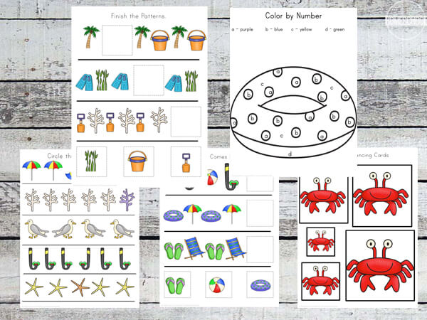 color by number, which comes next, which one is different, and size sequencing