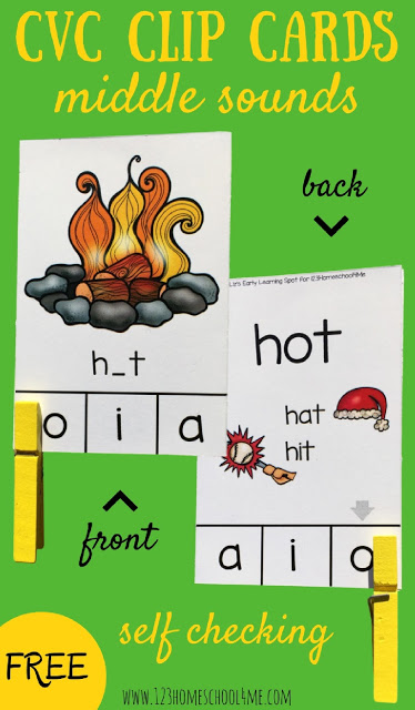 FREE CVC Words Middle Sounds Clip Cards - Middle Sounds. These are such a fun way for prek, kindergarten, and first grade to practice identifying middle sounds in words to improve their reading, phonics skills, and spelling. SELF CHECKING so perfect for literacy centers, #phonics #cvcwords #clipcards