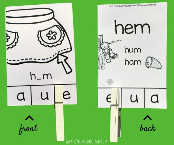 Practice middle sounds and reading CVC words with these free self-checking clip cards. Since kids can check their own work the cards encourage independent learning!