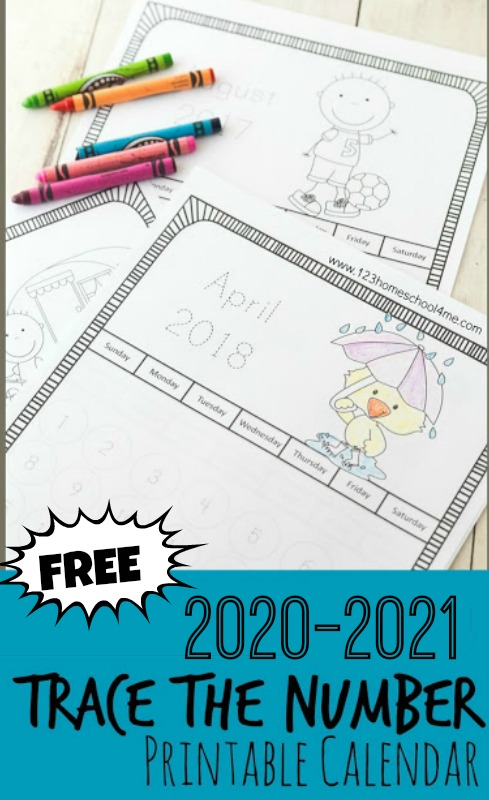 Kids will have fun learning how a calendar works with these free printable traceable calendars 2020 - 2021 with super cute seasonal pictures at the top to color. These free printable calendars for kids are in black and white to save you on printing costs and allow your toddler, preschool, pre k, kindergarten, and first grade student to colour the pages. Plus trace the number or stamp the days away with bingo daubers!