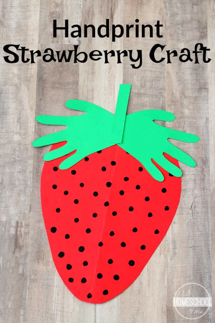 Looking for a cute strawberry craft? This darlingstrawberry handprint project is sure to be a hit with not only your toddler, preschool, pre-k, and kindergarten age child, but with parents too. This handprint strawberry craft is super simple to make and such a precious keepsake of their little hands! Whether you make this strawberry handprint craft in June when strawberries start flooding the grocery store or as a fun summer craft for kids- don't miss this simplestrawberry art and craft.