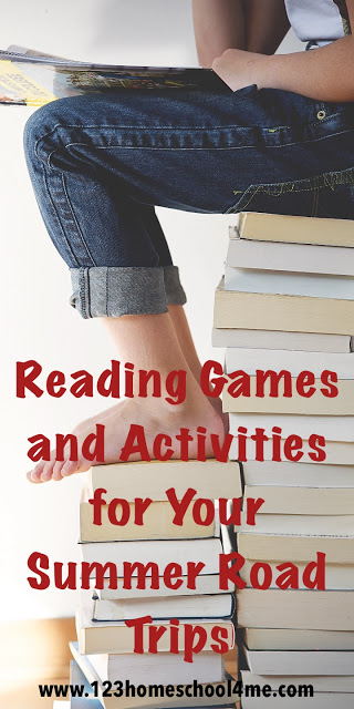 Reading Activities for your summer road trip - lots of fun, practical, and easy-to-implement reading games to prevent summer learning loss in Prek, Kindergarten, and first grade kids.