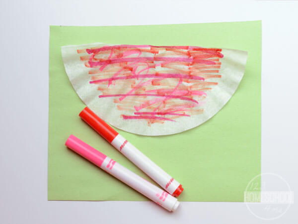 coffee filter, construction paper, markers