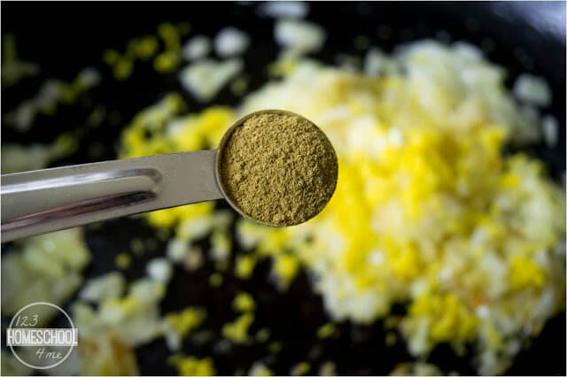 cook onion, garlic, lemon zest, and seasonings and add flour