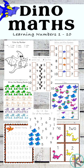 NEW! Free Dinosaur Math Worksheets | 123 Homeschool 4 Me