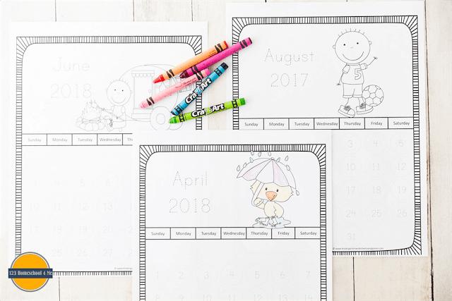 Kids Calendar 2022.Free Printable Traceable Calendars 2021 2022 For Kids