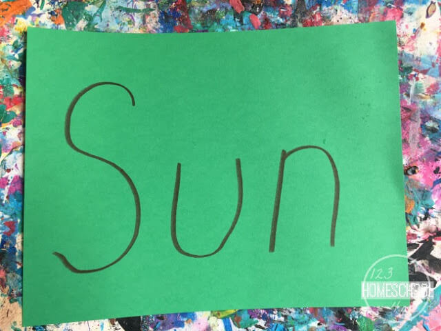 have your child tell you a summer word and write it on cardstock