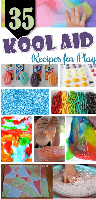 35 Kool Aid Recipes - tons of fun, clever ways to use kool aid with kids activities from kool aid paint, kool aid playdough, kool aid slime, kool aid foam, kool aid rice, kool aid cookies, and so many more!