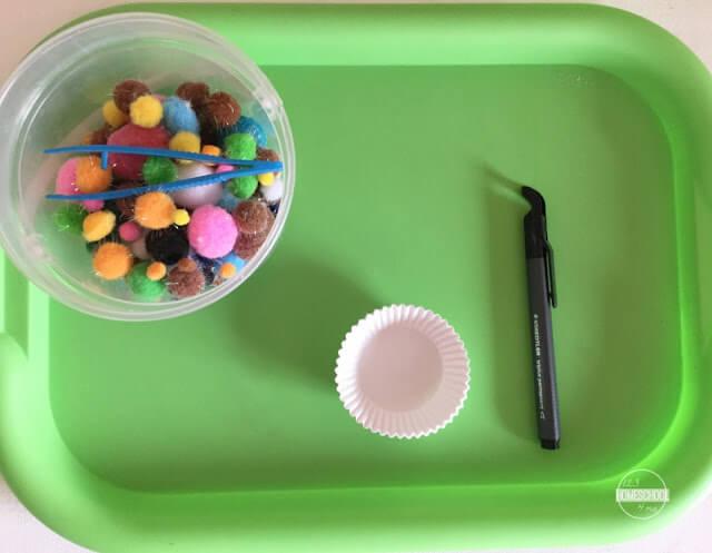 pom pom math manipulative hand on math actiivty for kindergarten, first grade