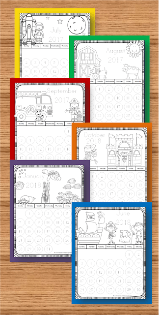 new  themed printable calendars to color