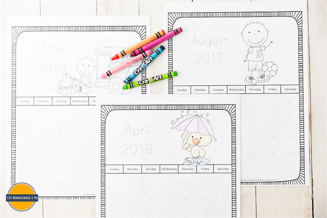 FREE Trace the Number Printable Calendars
