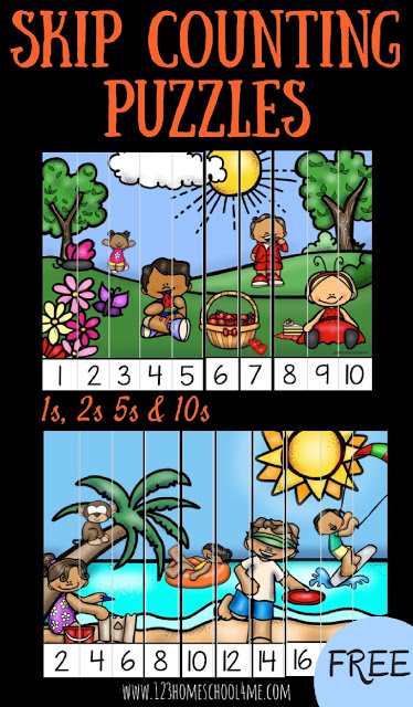 These Summer theme, free printable, Skip Counting Puzzles are a fun way to practice skip counting 1st, skip counting 2s, skip counitng 5s and skip counting 10s. Theseskip counting puzzles printables free are perfect for preschool, pre-k, kindergarten and first grade students. Simply download pdf file with skip counting puzzles printable free and you are ready to play and learn as you practice counting by 1s, counting by 2s, counting by 5s, and counting by 10s.