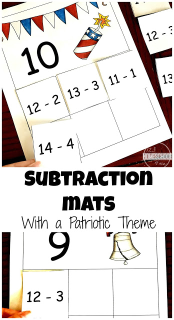 FREE Patriotic Subtraction Mats are such a fun way for kids to subtract numbers to 10. Perfect for kindergarten and first grade students. (homeschool, math centers, summer learning, 4th of July, independence day, memorial day, presidents day)