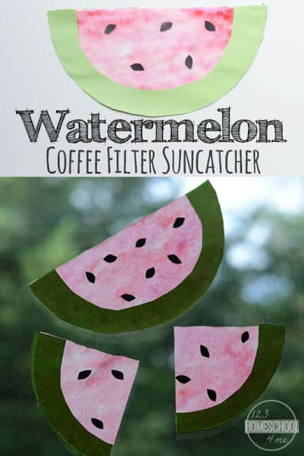 Suncatcher Watermelon Craft - this is such a cute watermelon craft for kids for kids of all ages; perfect summer craft for kids #craftsforkids #summercrafts #preschoolcrafts