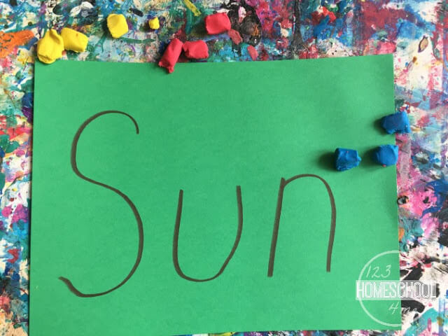 use kid clay to cover the summer words
