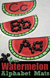 Practice making upper and lowercase letters with watermelon seeds and these free printable alphabet mats