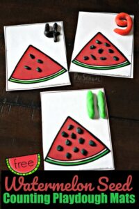 kids will have fun practicing counting to 20 with this watermelon seed playdough mats perfect for summer math with preschoolers