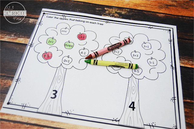 FREE Apple Math Worksheets 123