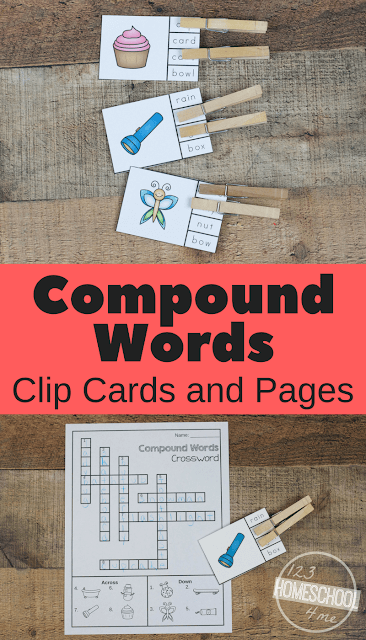FREE Compound Words Clip Cards and Compound Word Worksheets - these are such a fun way for first grade, 2nd grade, 3rd grade to practice compound words in a FUN way!