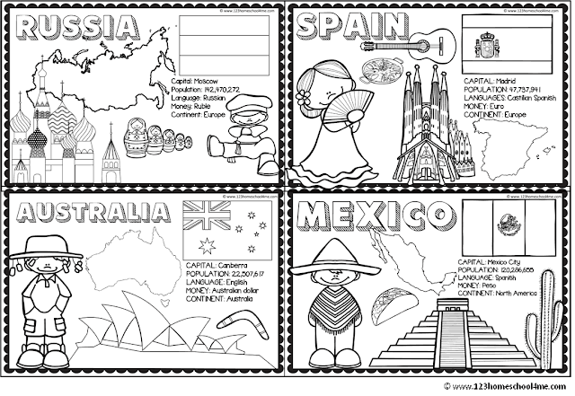 countries of the world coloring pages for homeschool, geography, preschool, kindergarten, 1st grade, 2nd grade